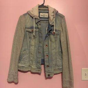 Women's hooded combo jean/sweatshirt jacket